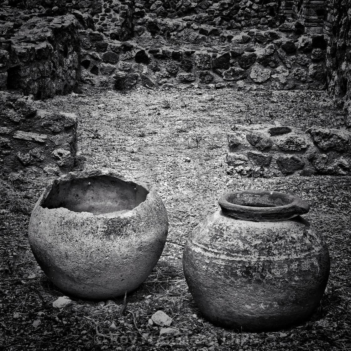 """Ancient Roman pots, mono"" stock image"