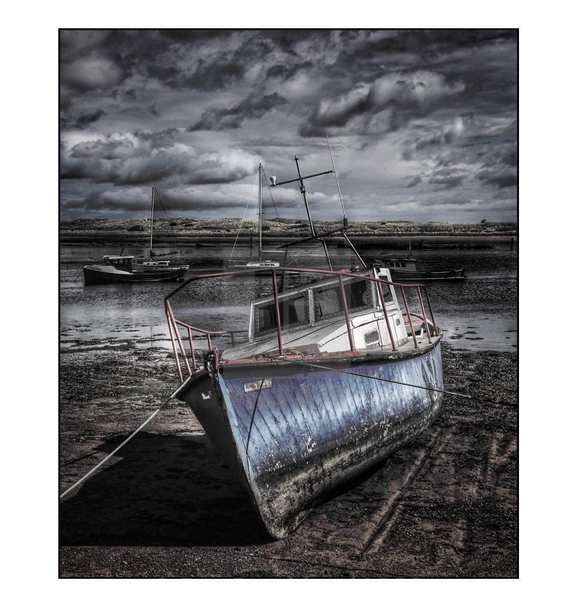 """Old fishing boat, Amble, selectively coloured"" stock image"