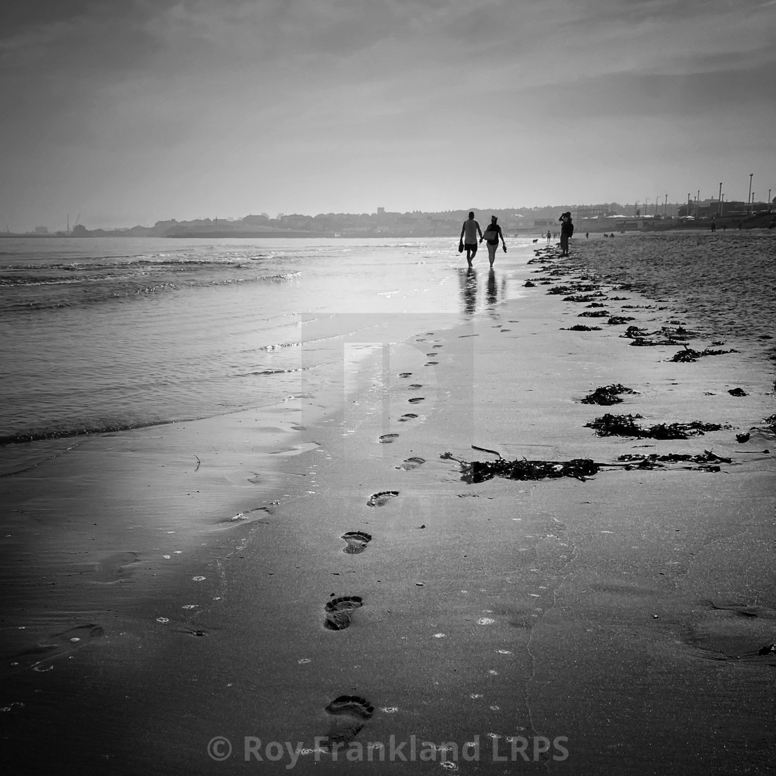 """""""Footsteps in the sand, mono"""" stock image"""