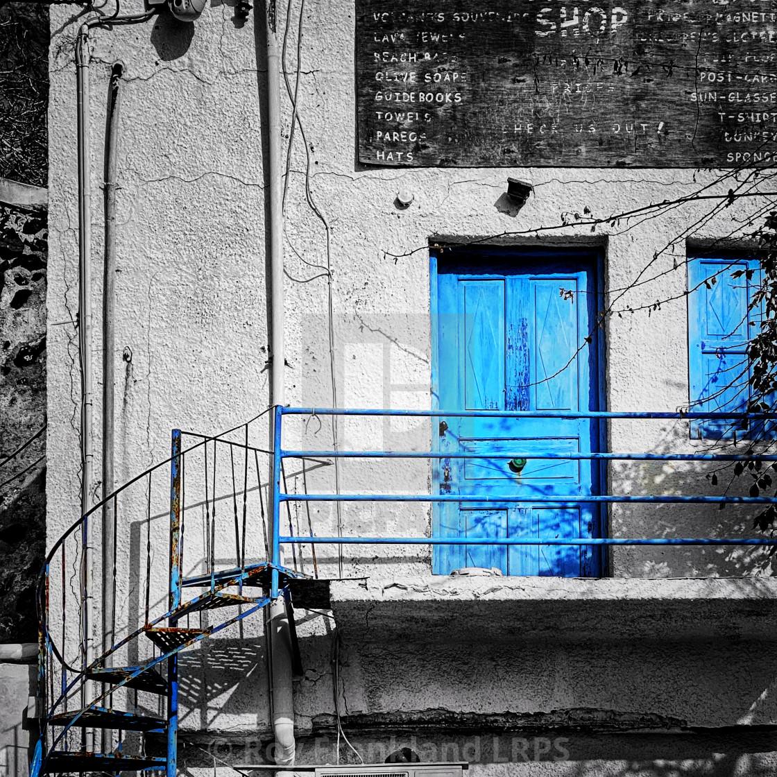 """Abandoned gift shop, Santorini"" stock image"