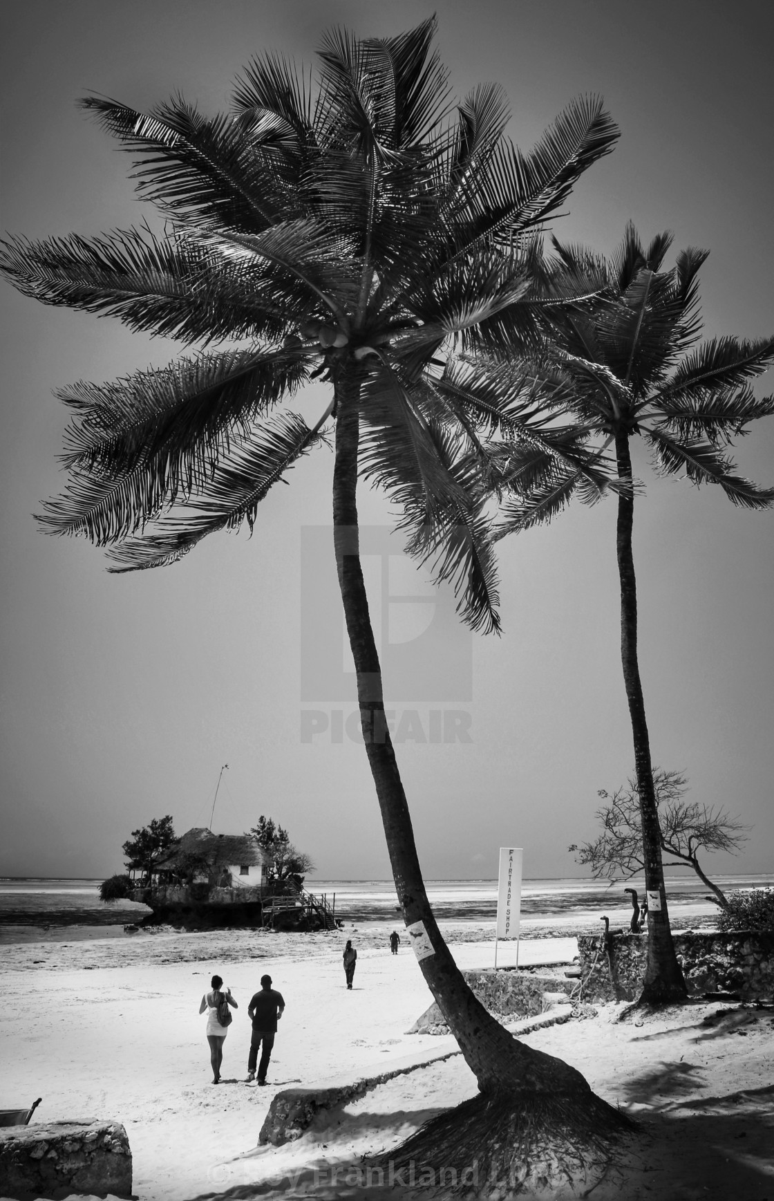 """The Rock restaurant, Zanzibar, mono"" stock image"