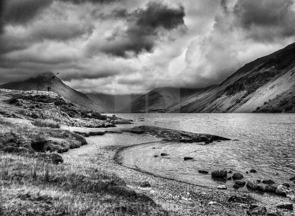 """Wast water lake, with couple and birds, mono"" stock image"