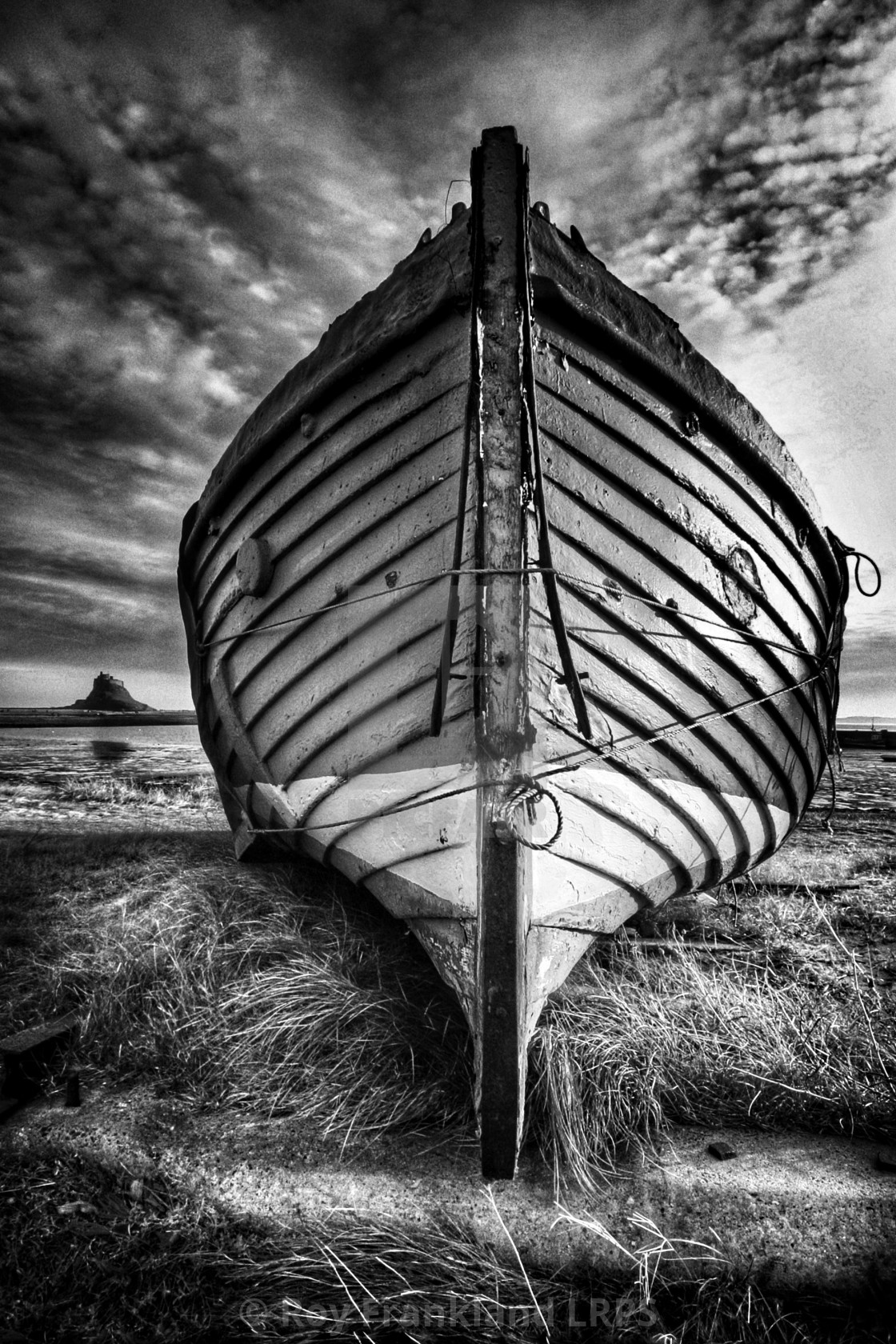 """The Katie Colombo on Lindisfarne island, mono"" stock image"