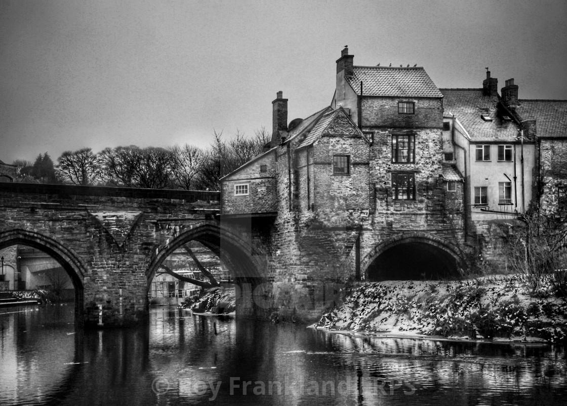 """Houses on Durham bridge"" stock image"