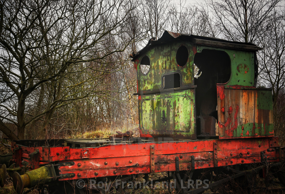 """Abandoned, derelict steam train"" stock image"