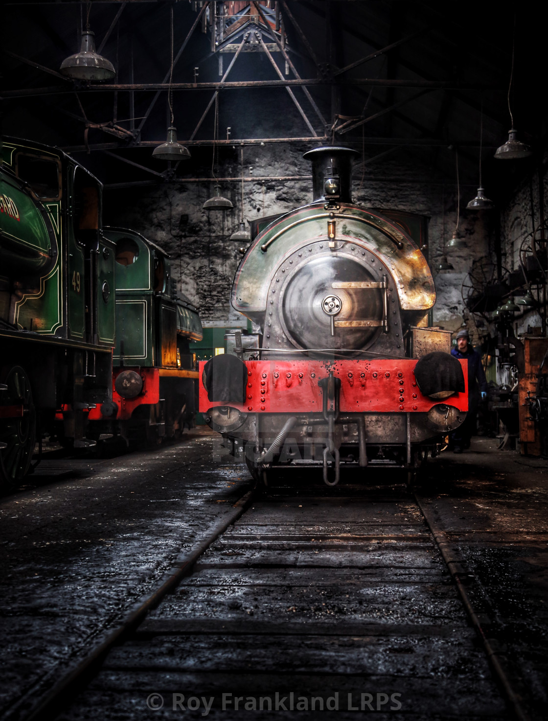 """Steam train in the shed"" stock image"