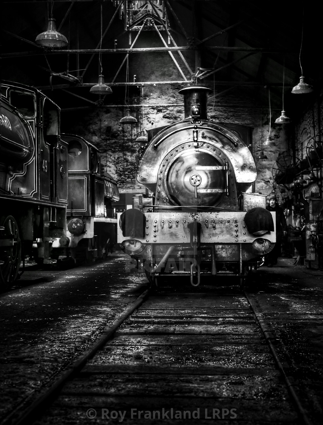 """Steam train in the shed, mono"" stock image"