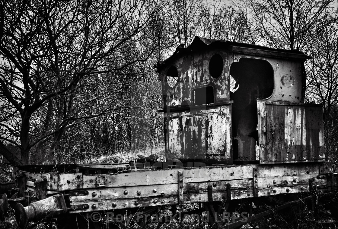 """Abandoned, derelict steam train, mono"" stock image"