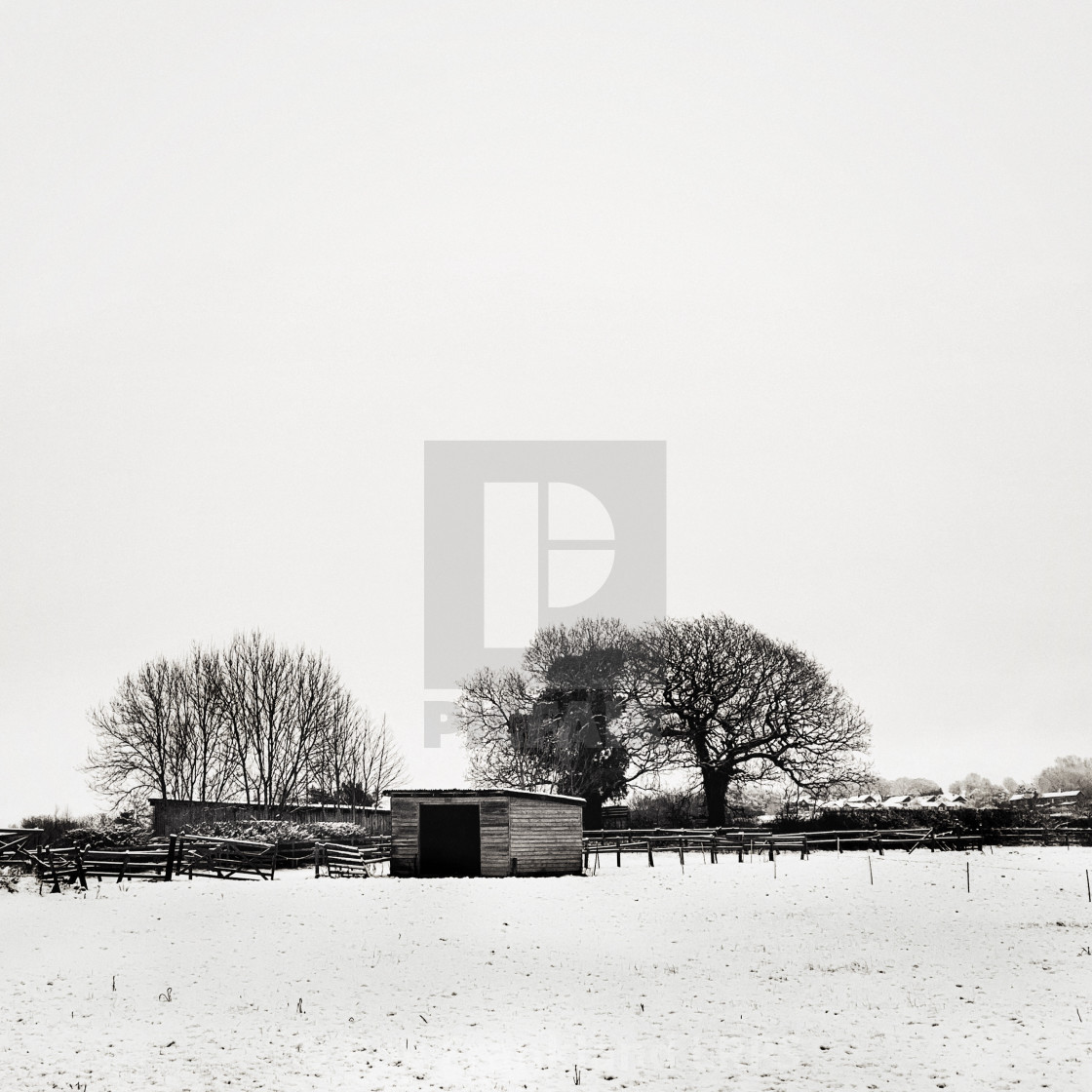 """""""Farm building in the snow"""" stock image"""