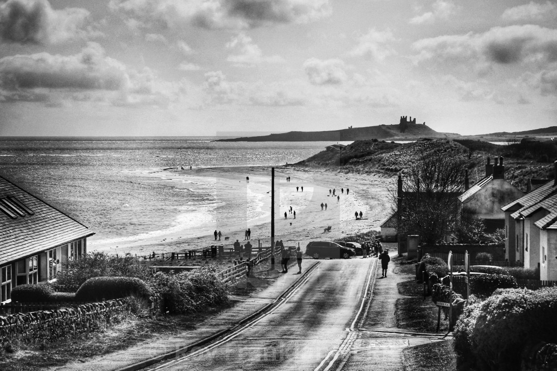 """""""Dunstanbrough Castle from Low Newton, mono"""" stock image"""