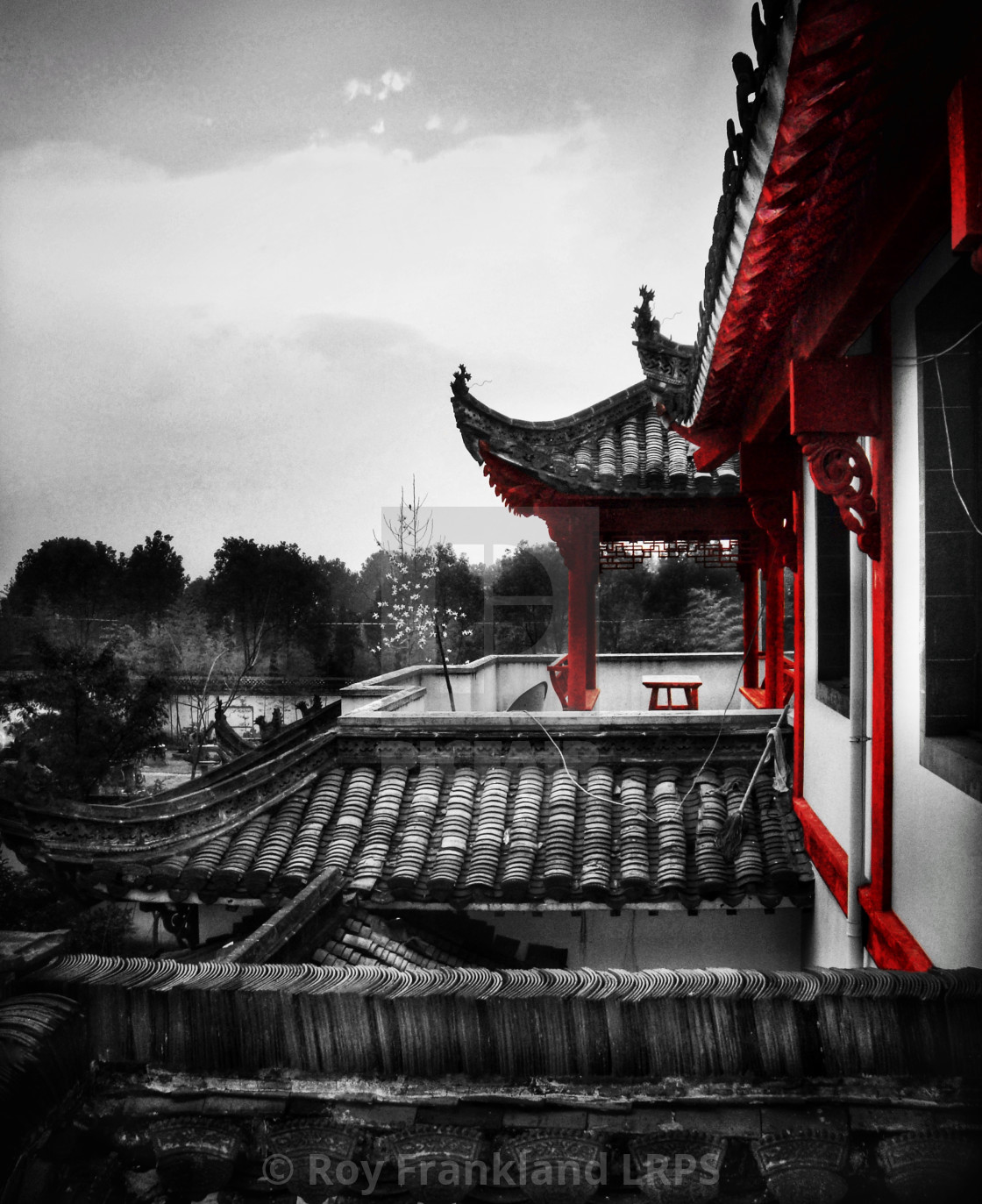 """""""Ancient Chinese rooftops, selective colour"""" stock image"""