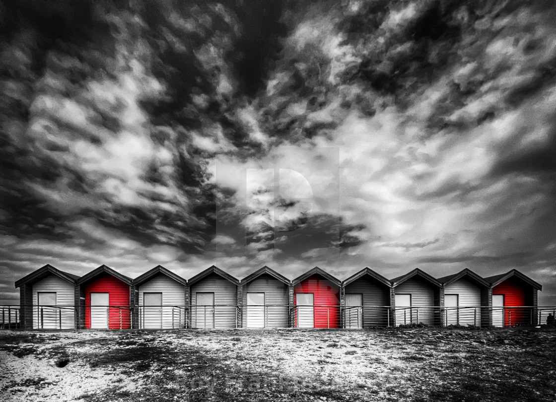 """""""Blyth beach huts, selectively coloured"""" stock image"""