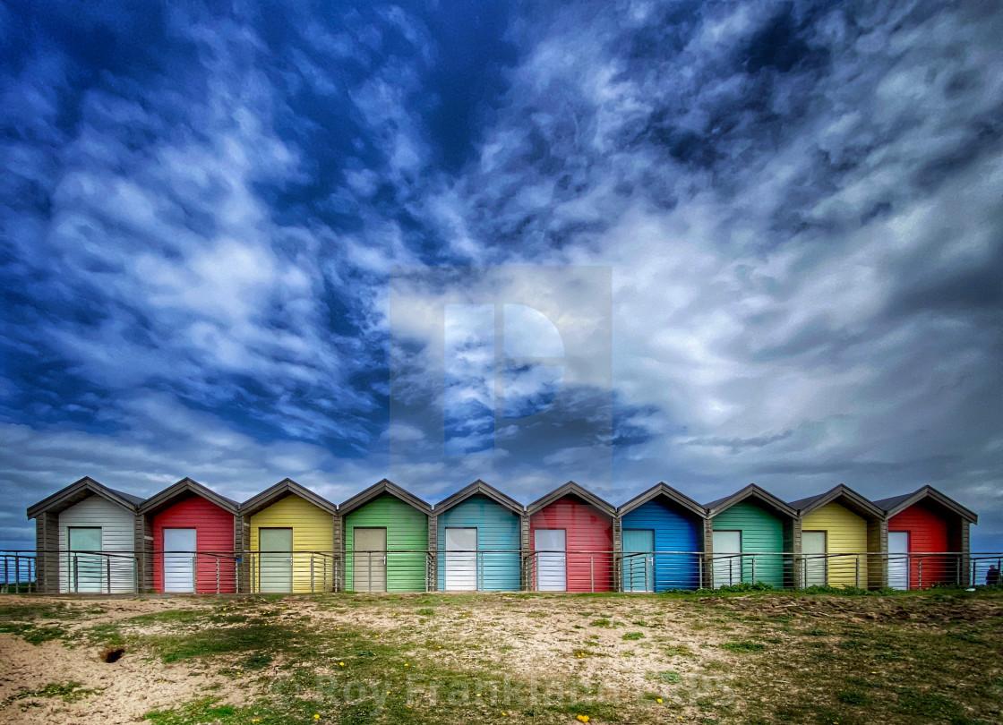 """Blyth beach huts"" stock image"