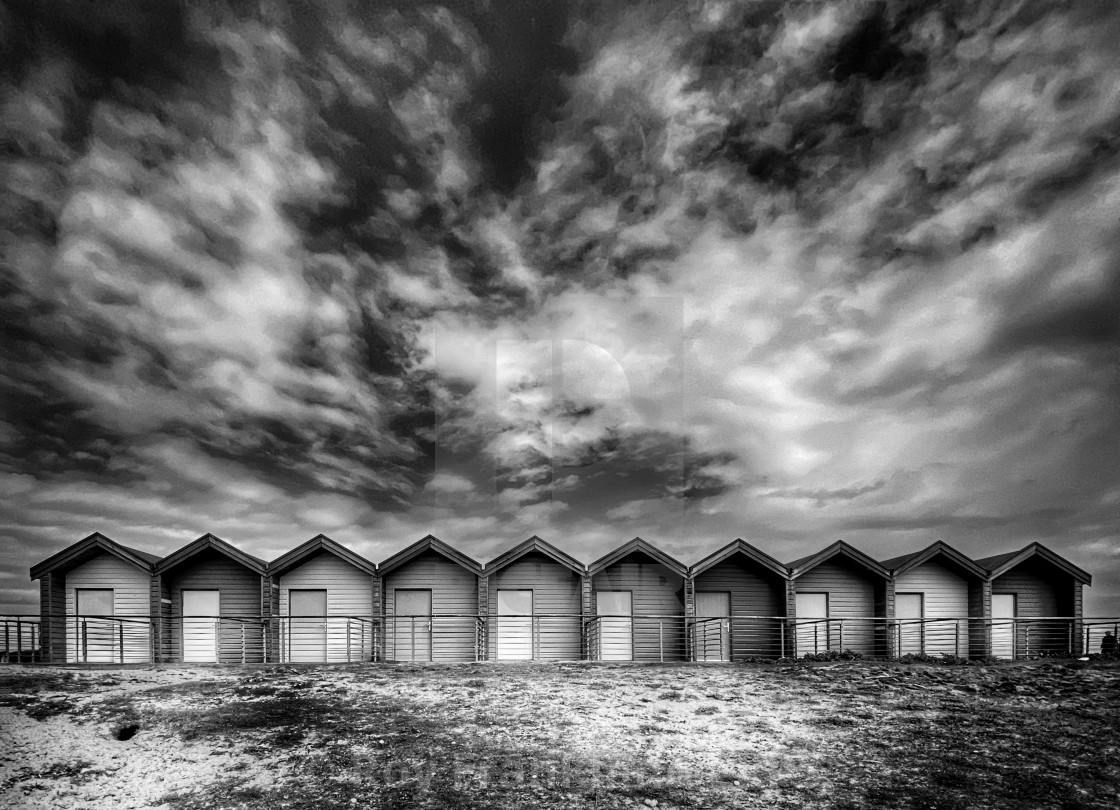 """Blyth beach huts, mono"" stock image"