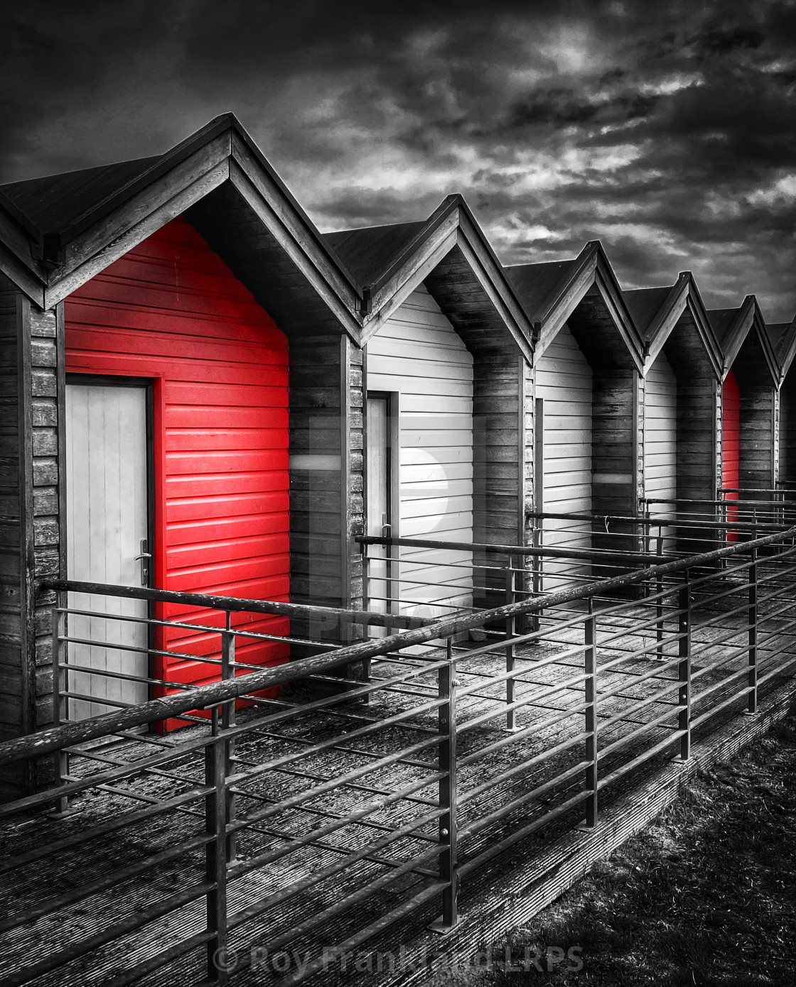 """""""Colourful beach huts, selectively coloured"""" stock image"""