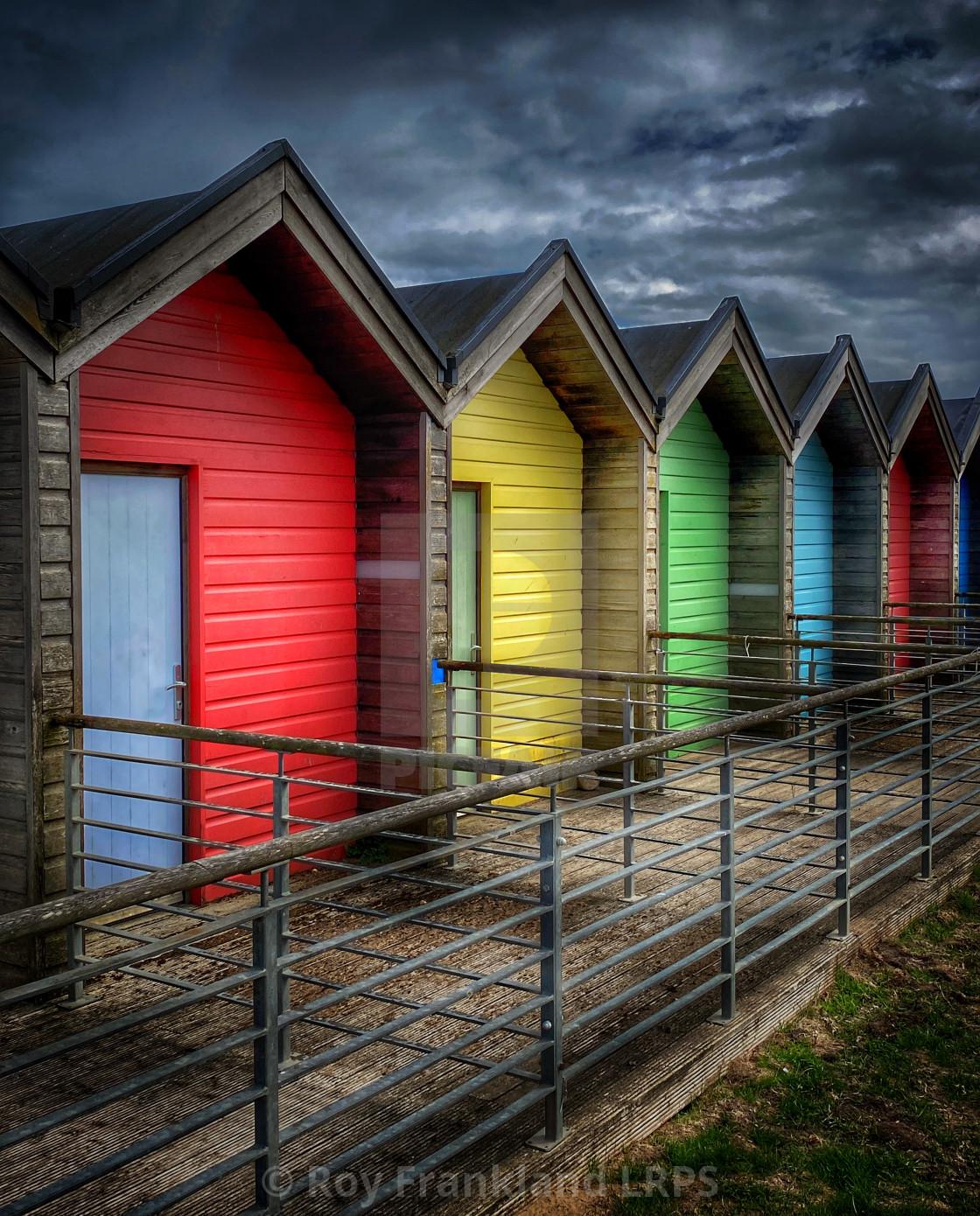 """Colourful beach huts"" stock image"
