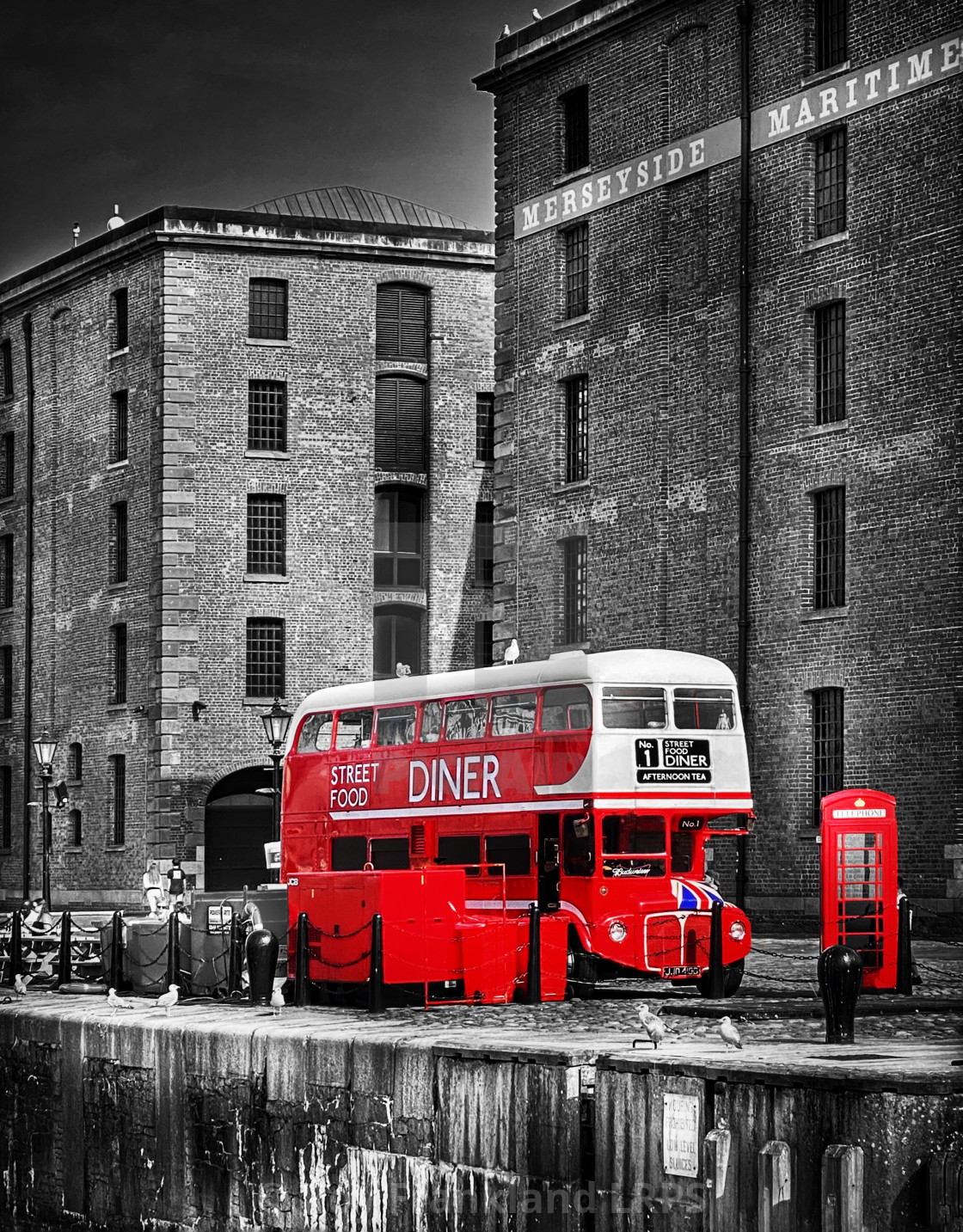 """""""Street food diner, selective colour"""" stock image"""
