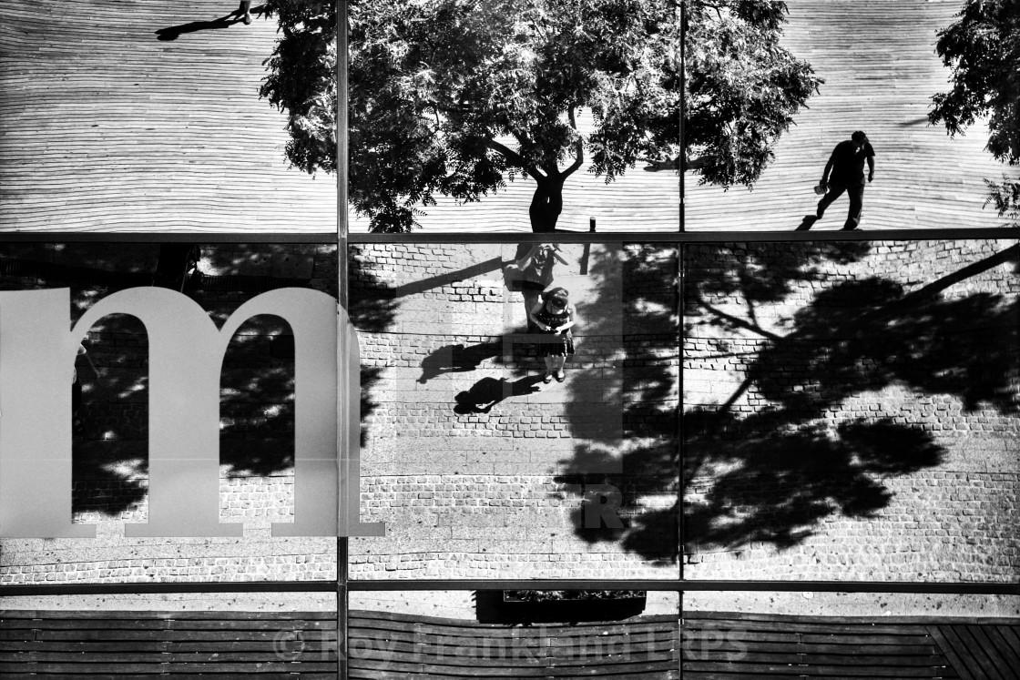 """Reflections of a street, mono"" stock image"