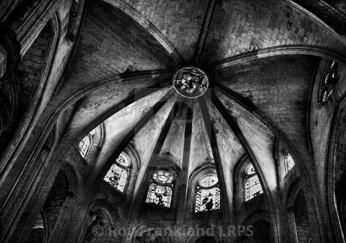 """""""Barcelona cathedral ceiling 1, mono"""" stock image"""