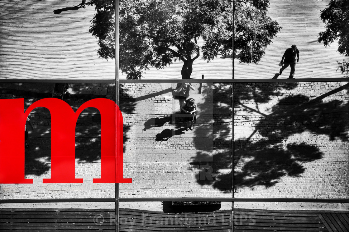 """""""Reflections of a street, selective colour"""" stock image"""