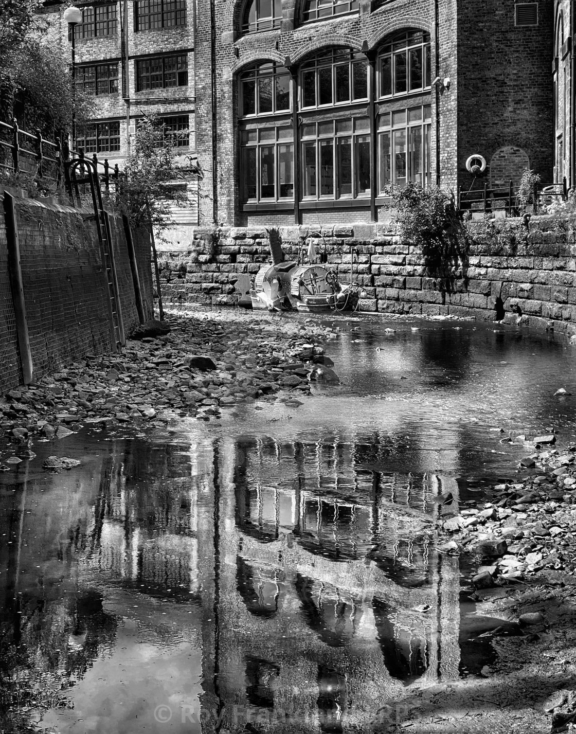 """""""Reflections in the Ouse burn, mono"""" stock image"""