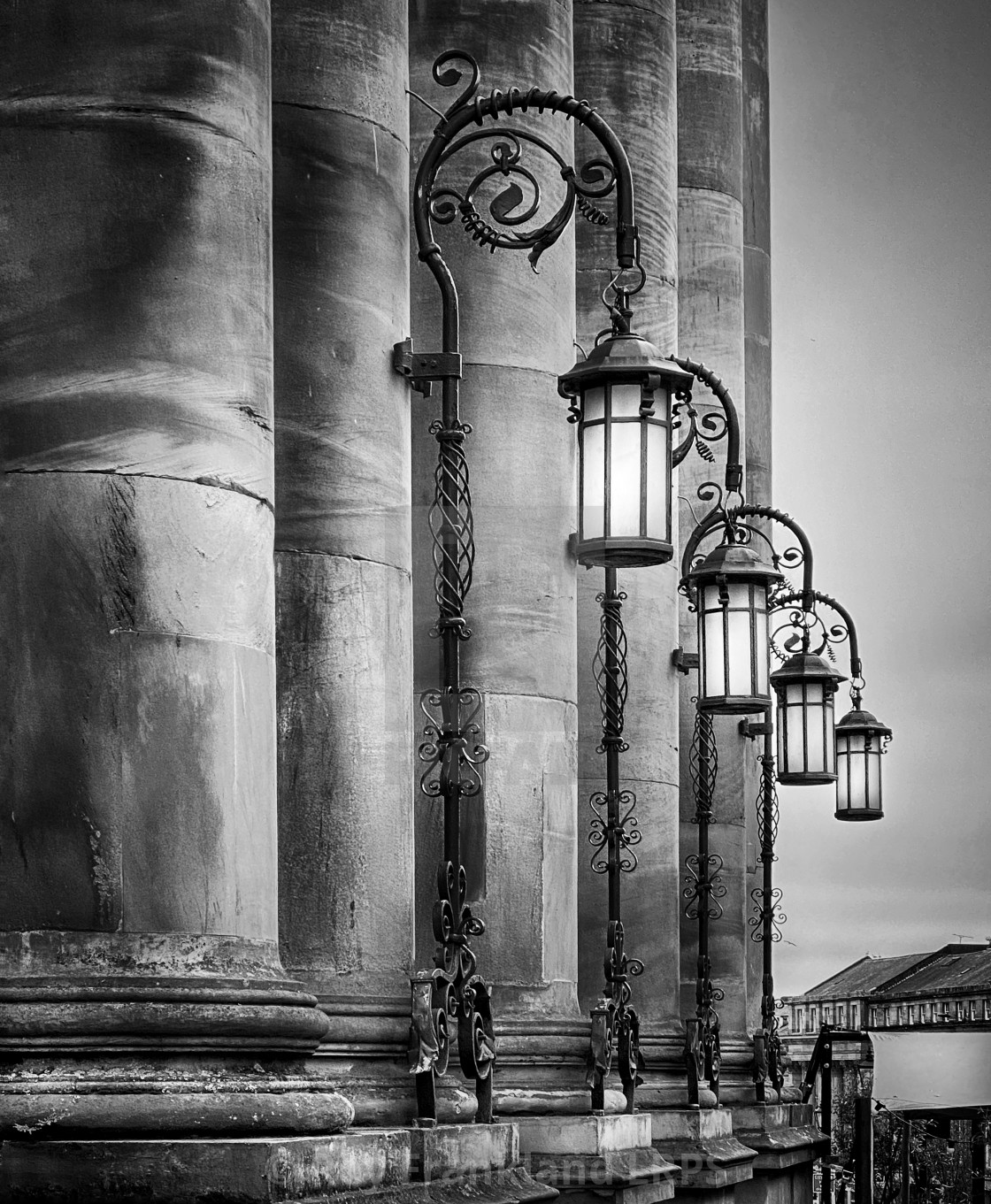 """Theatre Royal columns and lights, Newcastle, mono"" stock image"