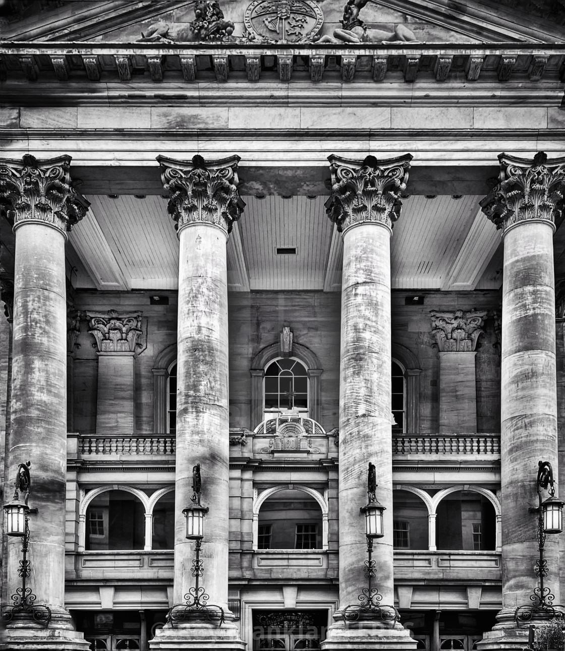 """Theatre Royal columns, Newcastle, mono"" stock image"