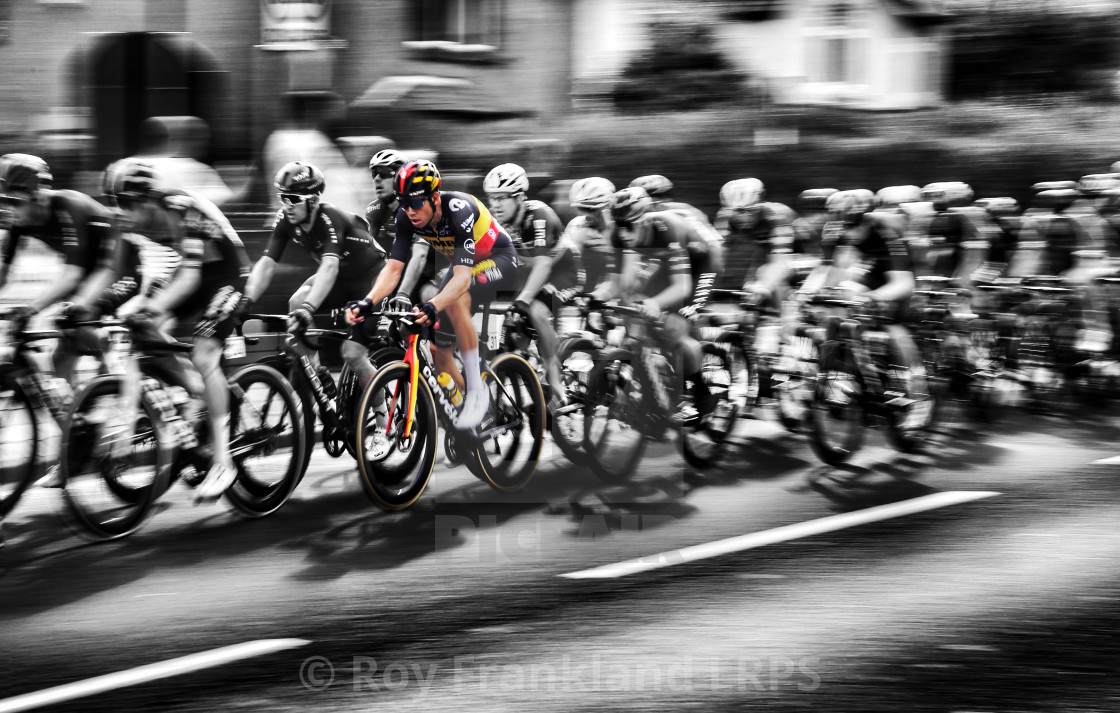 """""""Tour of Britain Cycle race peleton with Wout van Aert"""" stock image"""