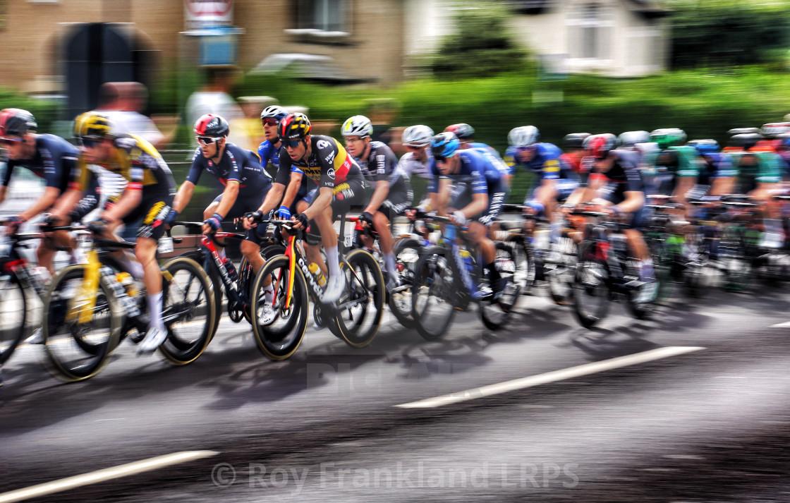 """Tour of Britain Cycle race peleton"" stock image"