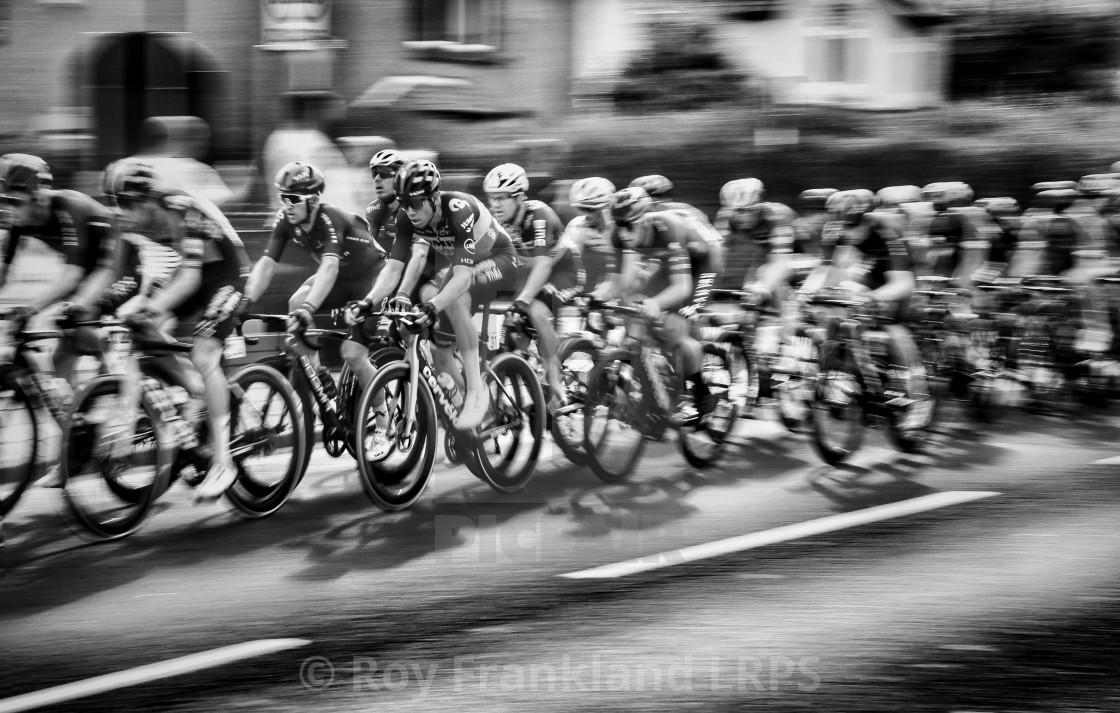 """""""Tour of Britain Cycle race peleton, mono"""" stock image"""