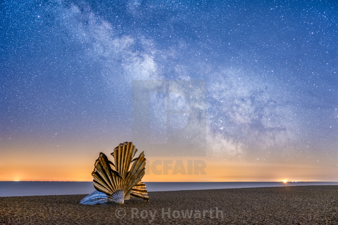"""""""The Aldeburgh Shell and the Milky Way"""" stock image"""