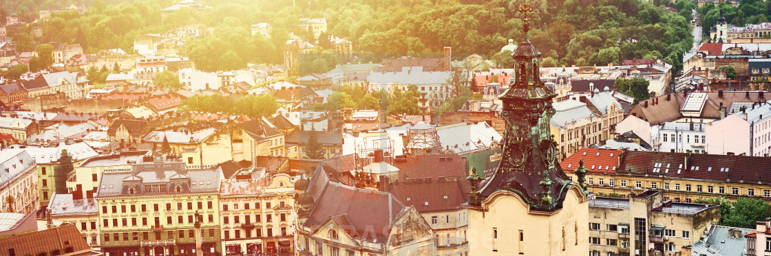 """""""Lviv, Ukraine - May 20, 2019: View of the old Lviv. Bright color roofs of..."""" stock image"""