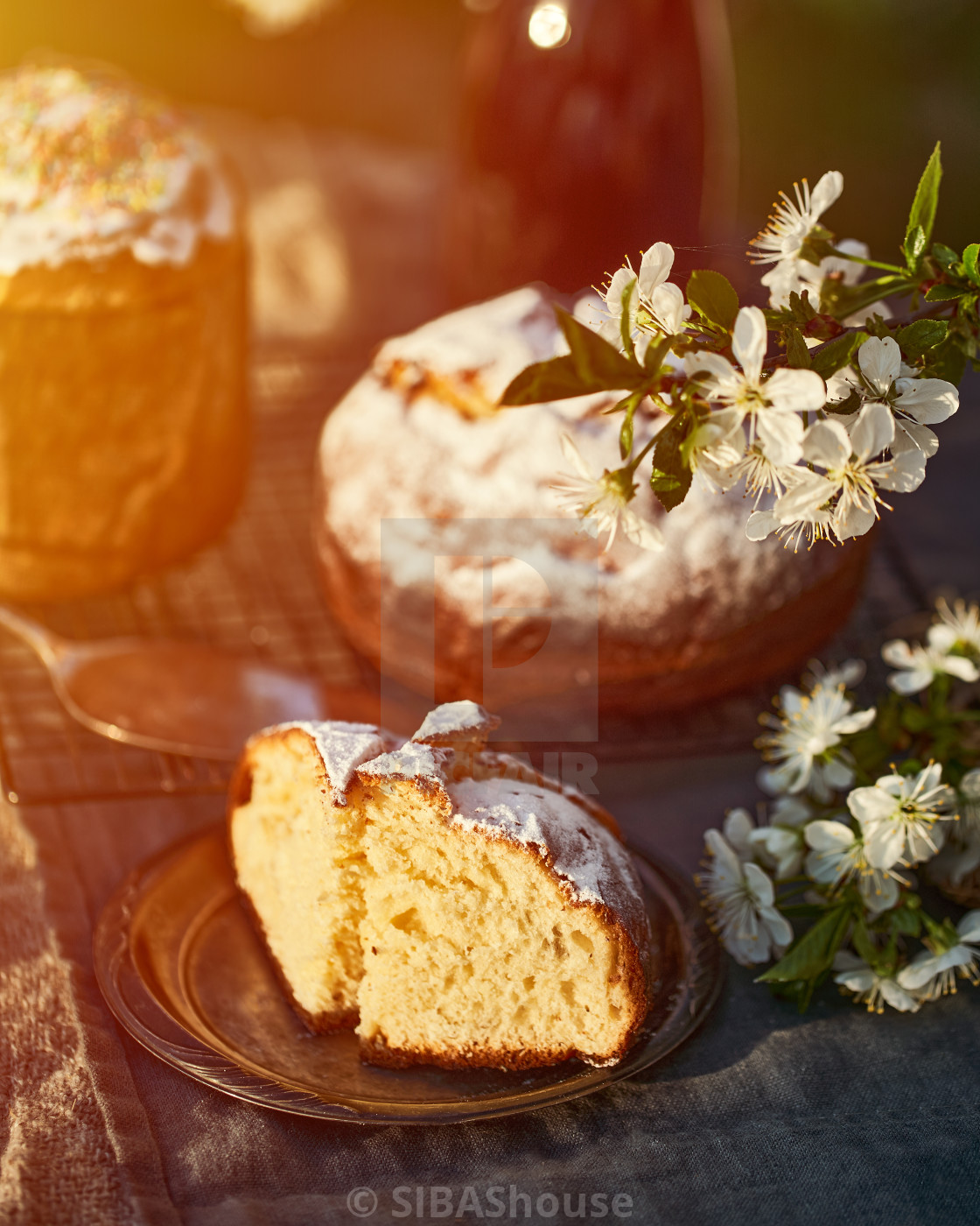 """Traditional russian Easter cottage cheese dessert. Orthodox paskha, kulich..."" stock image"