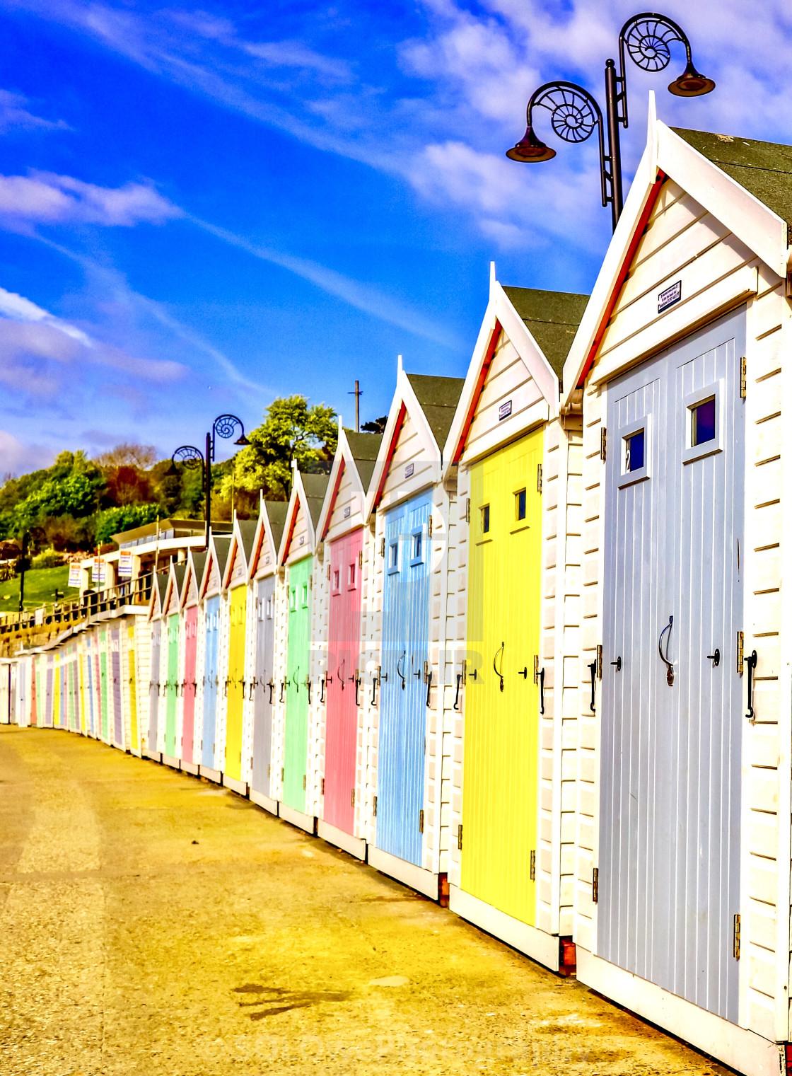 """Lyme Regis Beach Huts"" stock image"