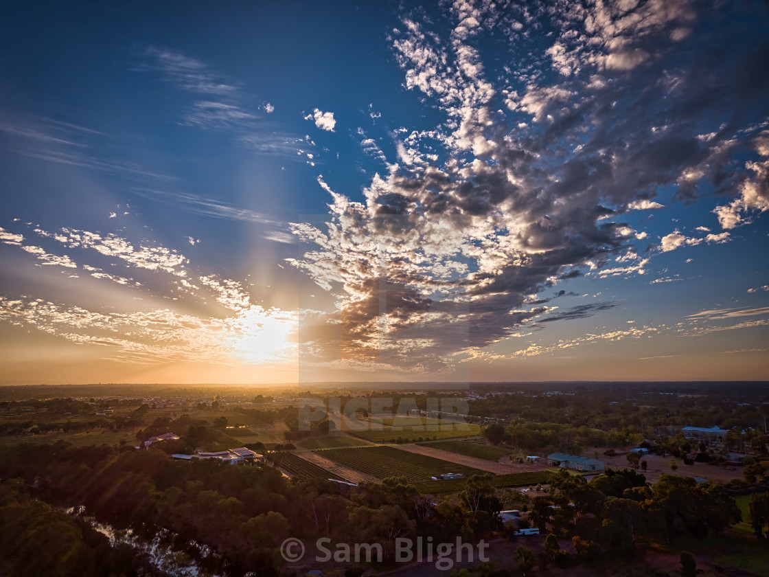 """""""Middle Swan Aerial Sunset"""" stock image"""