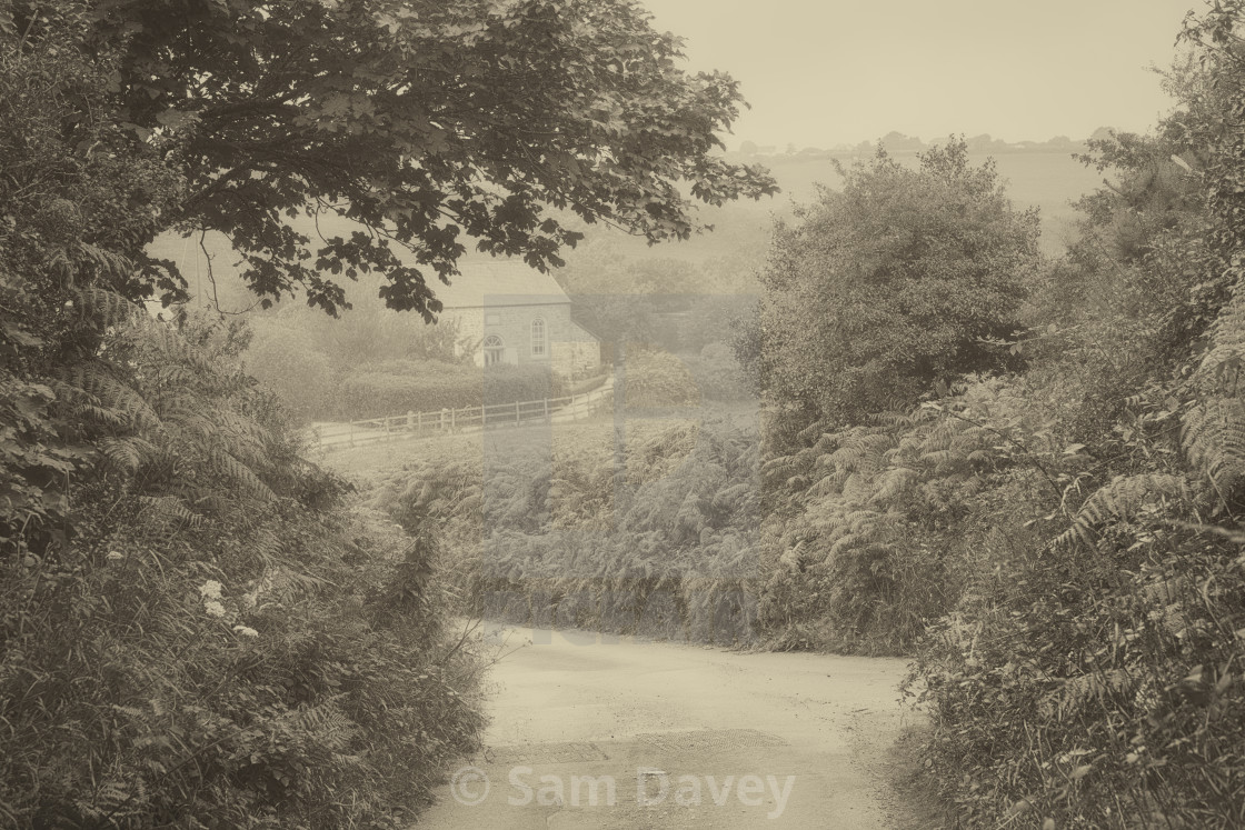 """""""Country Lanes leading to Ninnes chapel, West Cornwall"""" stock image"""