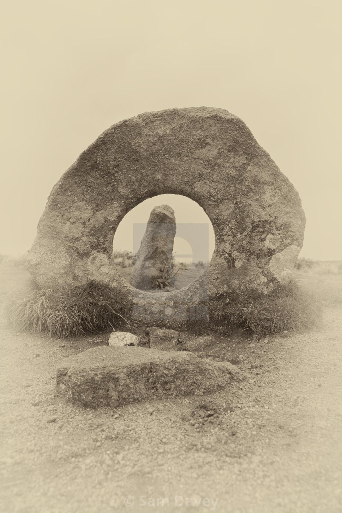 """Men-An Tol Bronze Age Stones"" stock image"