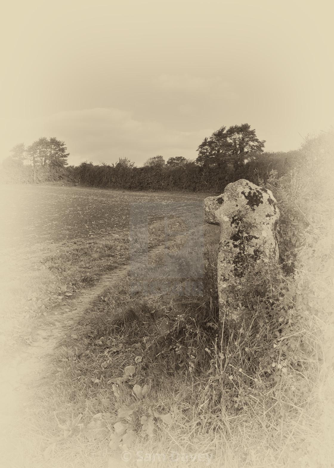"""Boscathnoe Early Medieval Cross"" stock image"