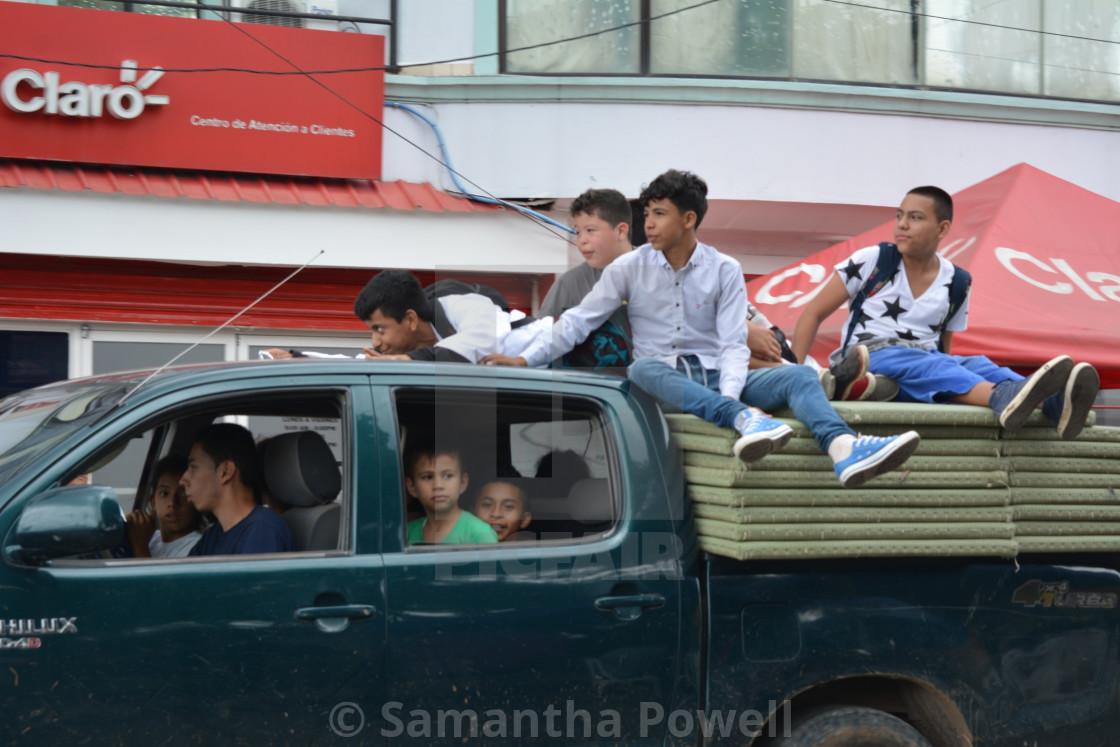 """Kids on Truck"" stock image"