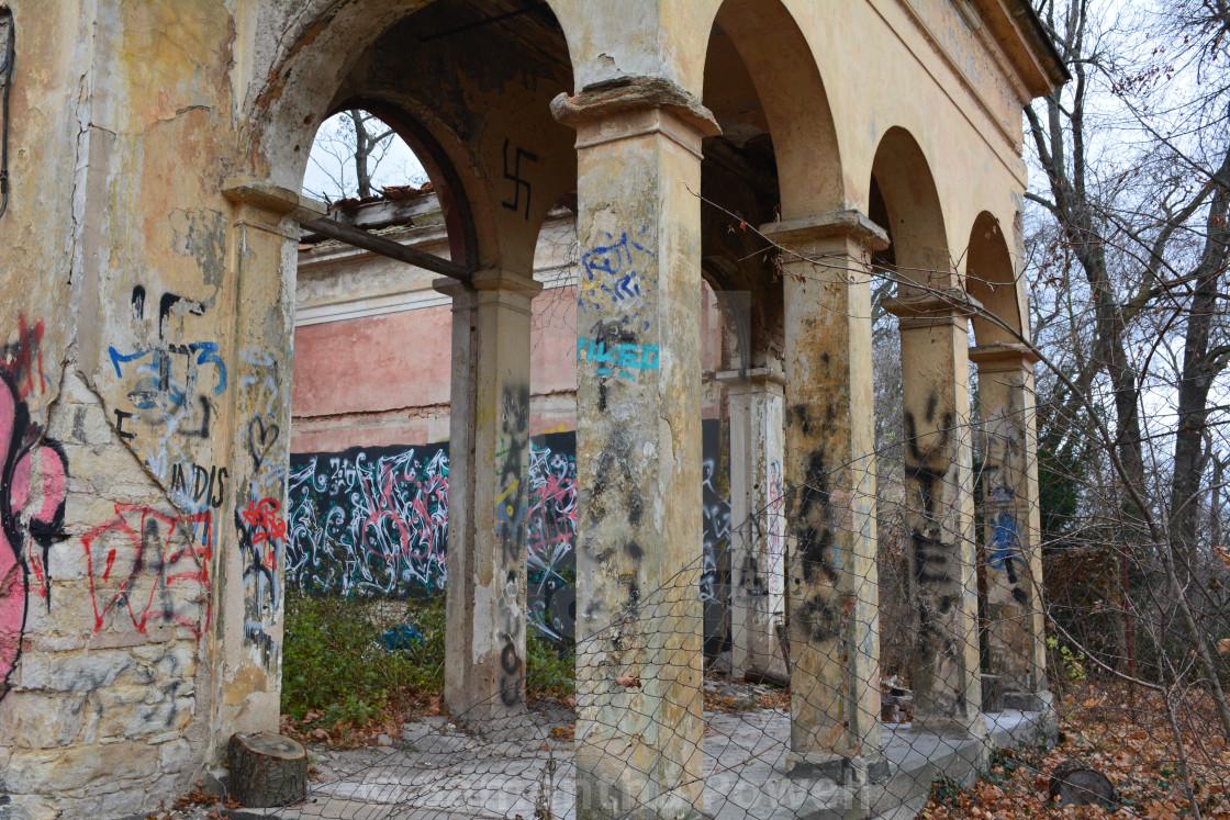 """Graffiti on Building"" stock image"