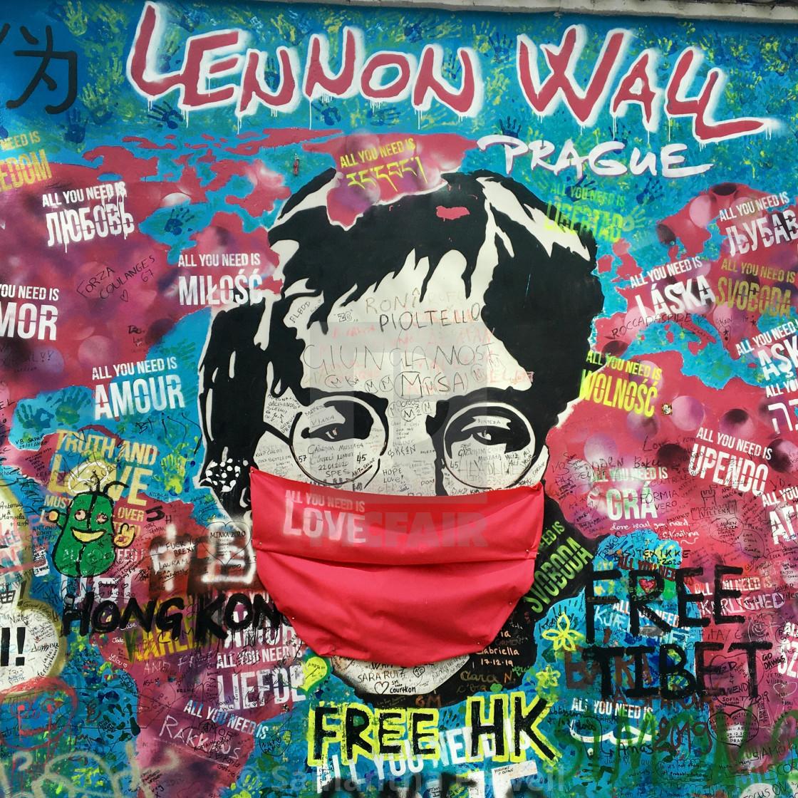 """John Lennon with Face Mask"" stock image"