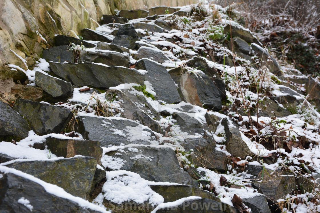 """Snowy Rocks"" stock image"
