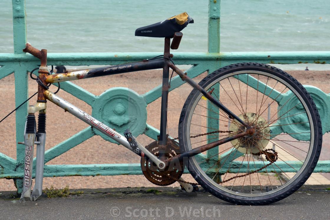 """Battered Bike of Brighton"" stock image"