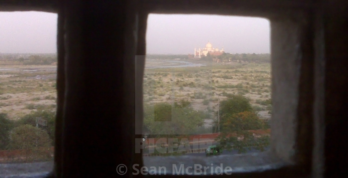 """""""Taj Mahal From Agra Fort Love From A Prison Cell"""" stock image"""