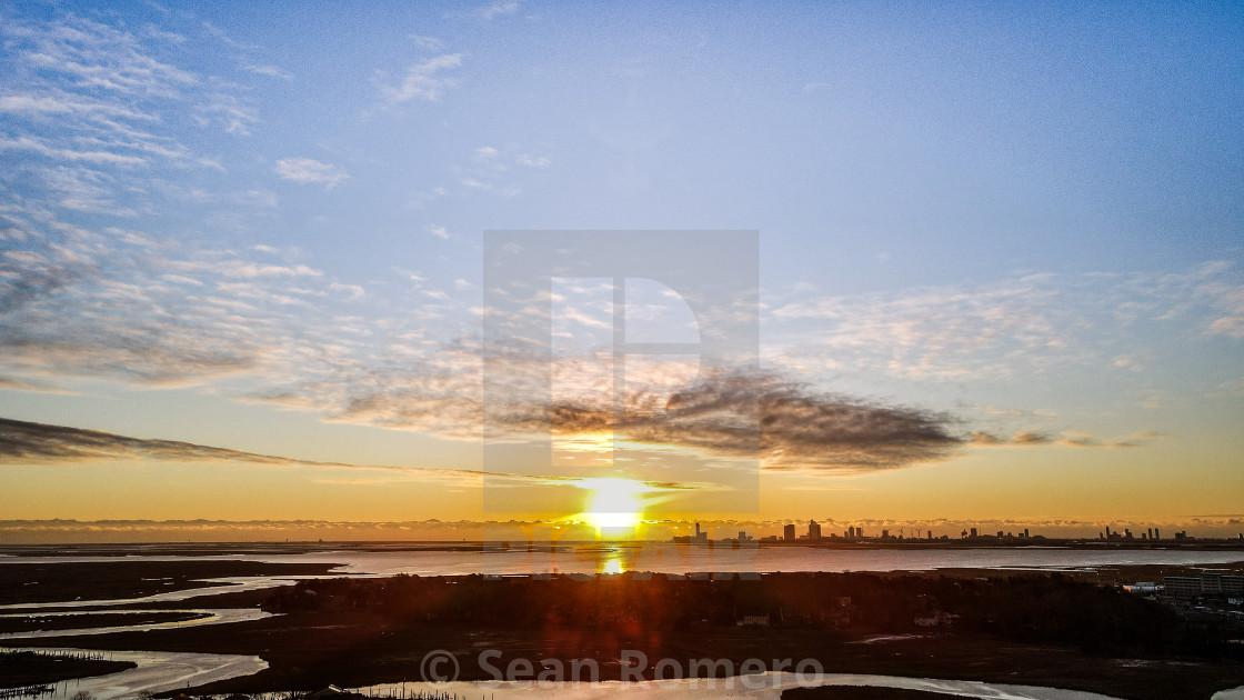 """Sunrise over the city"" stock image"