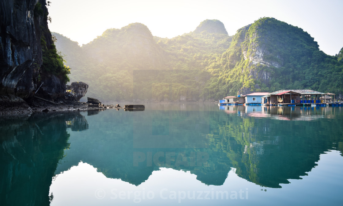 """""""Floating houses in Halong bay, Vietnam"""" stock image"""