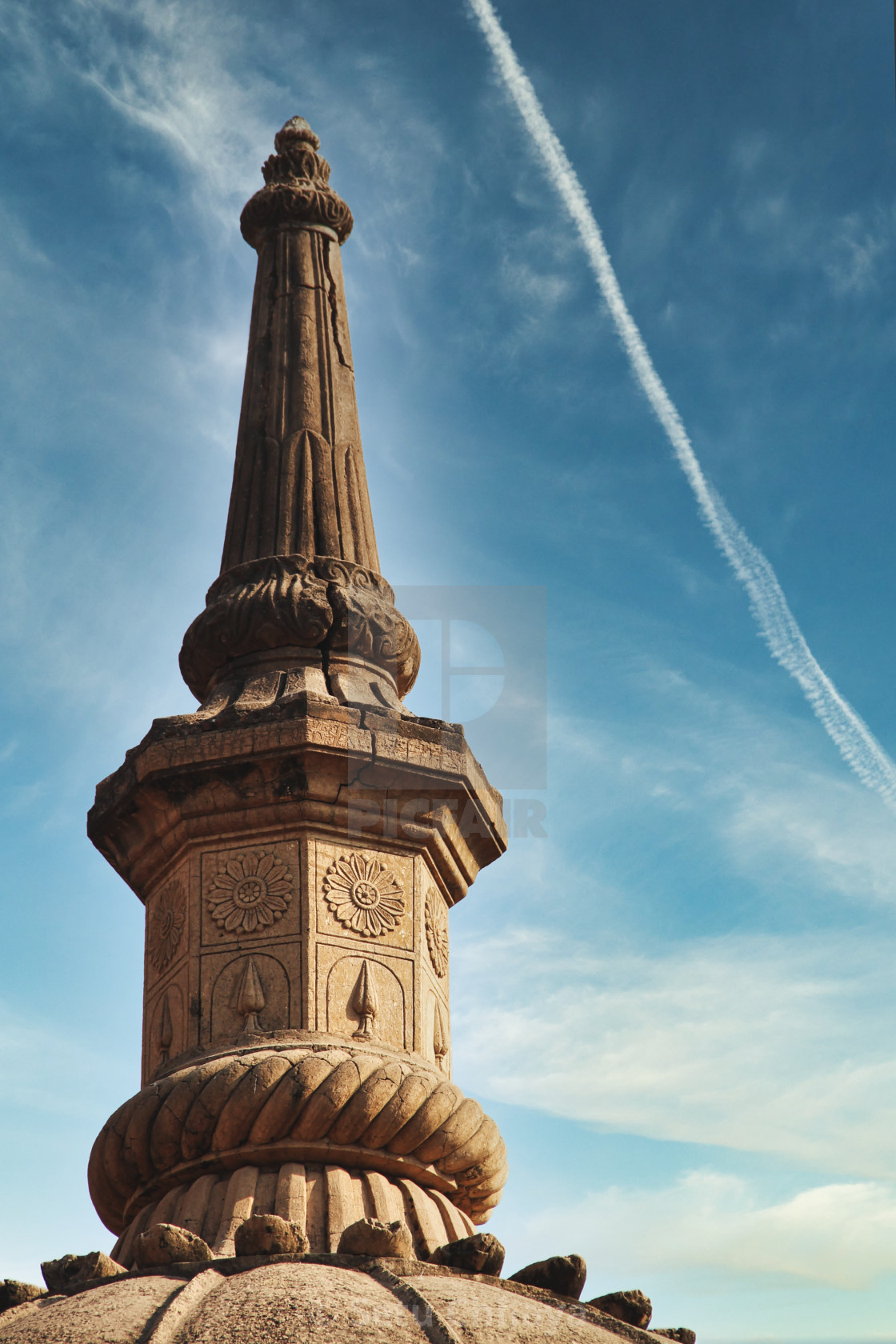 """""""Finial of a tomb in the Dutch Cemetery at Surat."""" stock image"""
