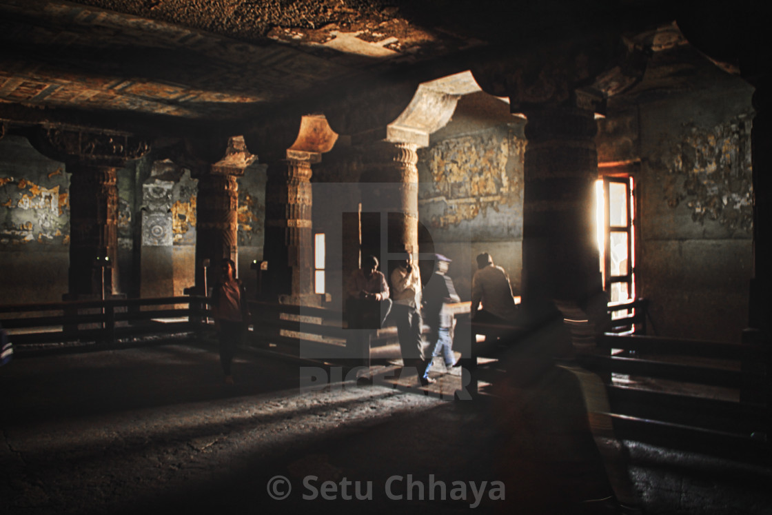 """""""Inside one of the cave temples of the Ajanta Caves."""" stock image"""