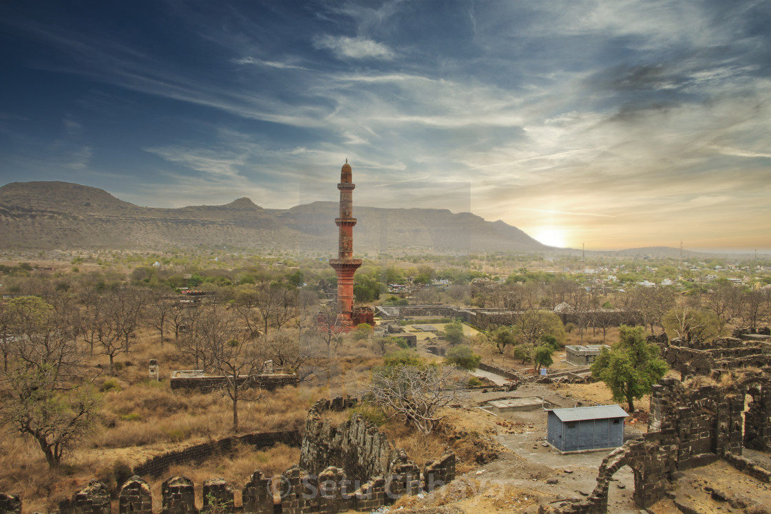 """""""A partial aerial view of Daulatabad Fort"""" stock image"""