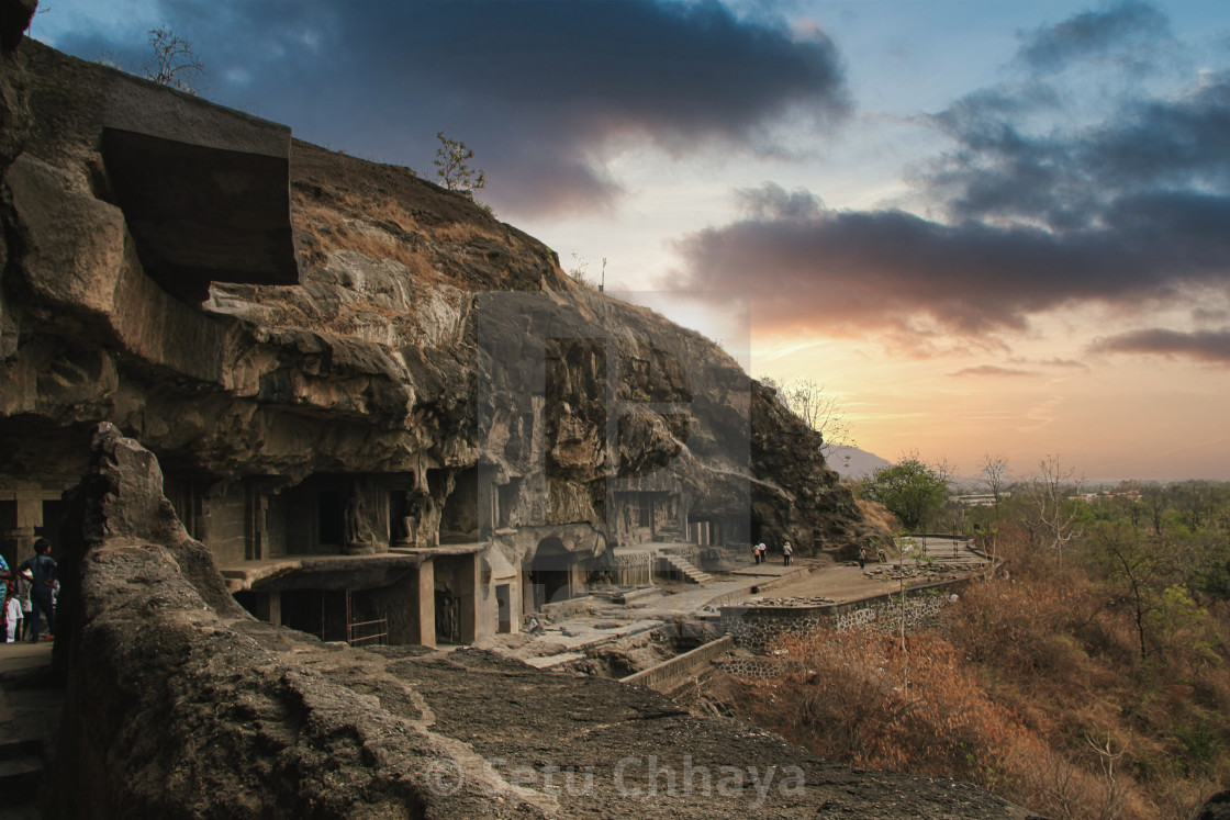 """""""Ancient Ellora caves with scenic beauty"""" stock image"""